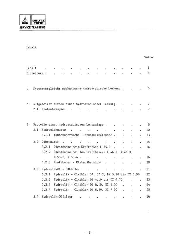Inhalt Deutz Fahr WHB Hydrostatische Lenkung 07 07C DX Seite 1