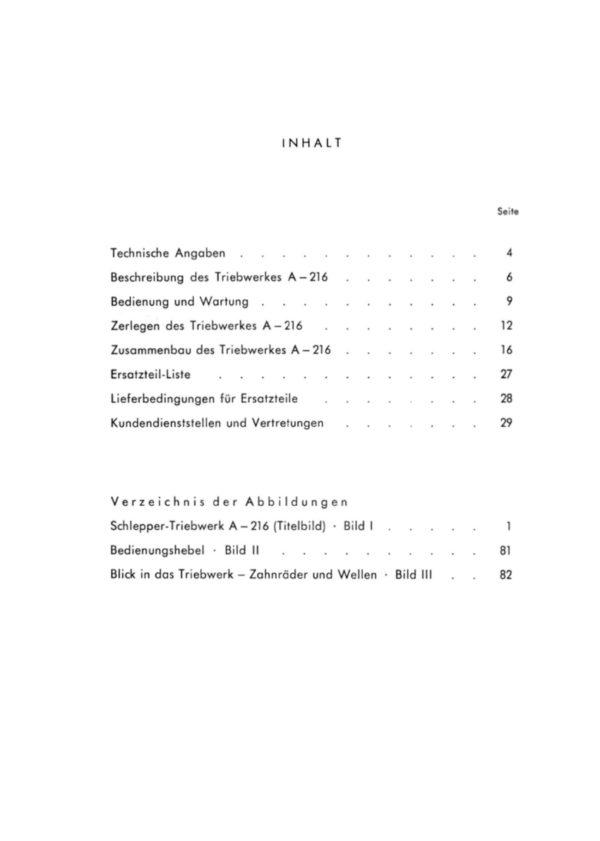 Inhalt ZF BA ETL Schlepper Triebwerk A 216