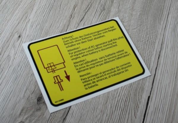 Deutz Aufkleber Schutz des Drehstromgenerators