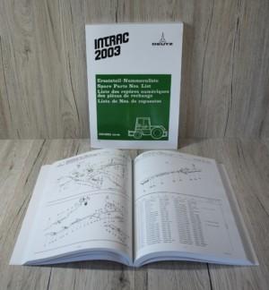 Deutz Ersatzteilliste Traktor Intrac 2003